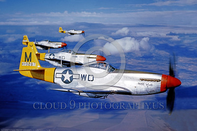 P-51 00006 A US Army Air Force North American P-51 Mustang, MIss Ruth, in flight with three other P-51 Mustangs, airplane picture, Official USAF Picture       DONEwt copy