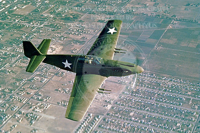 P-51 00008 An in-flight, olive drab, early model North American P-51 Mustang over Southern California, airplane picture, Official North American Aircraft Company picture