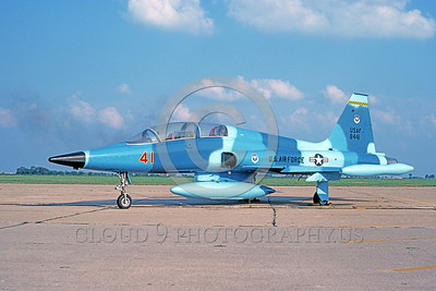 F-5USAF 00001 A static Northrop F-5B Freedom Fighter USAF 638441 9-1982 military airplane picture by Barry Roop