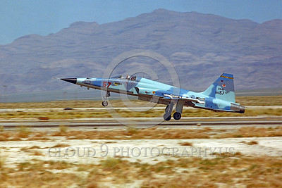 F-5USAF-Aggr 00014 A Northrop F-5E Freedom Fighter USAF 01557 AGGRESSOR lands at Nellis AFB military airplane picture by Peter J Mancus