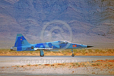 F-5USAF-Aggr 00017 A taxing blue Northrop F-5E Freedom Fighter USAF 01569 AGGRESSOR Nellis AFB 2-1981 military airplane picture by Peter J Mancus