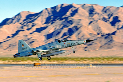 F-5USAF-Fly 00018 A landing Northrop F-5E Freedom Fighter USAF jet fighter 30879 Nellis AFB 4-1980 military airplane picture by Peter J Mancus