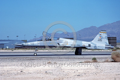 F-5USAF-Aggr 00027 A taxing Northrop F-5F Freedom Fighter USAF 20090 Nellis AFB 9-1984 military airplane picture by Michael Grove, Sr
