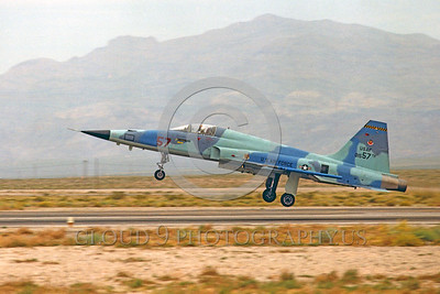 F-5USAF-Fly 00022 A landing Northrop F-5E Freedom Fighter USAF 01557 AGGRESSOR Nellis AFB by military airplane picture by Peter J Mancus