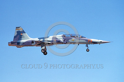 F-5USAF-Fly 00032 A landing Northrop F-5F Freedom Fighter USAF 30073 AGGRESSOR 9-1984 military airplane picture by Michael Grove, Sr