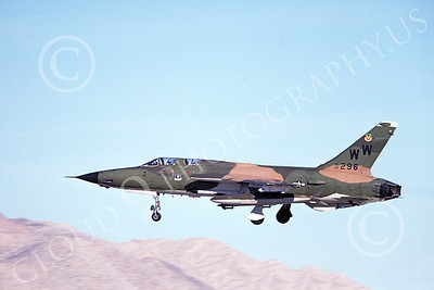 F-105USAF 00176  A landing Republic F-105G Thunderchief Wild Weasel USAF 63296 WW code 4-1980 military airplane picture by Ben Knowles