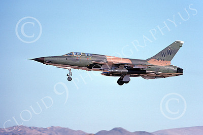 F-105USAF 00178  A landing Republic F-105G Thunderchief Wild Weasel USAF 62434 WW code George AFB 4-1980 military airplane picture by Ronald McNeil