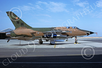 F-105USAF 00181 A static Republic F-105G Thunderchief Wild Weasel USAF 63300 WW code George AFB 6-1980 military airplane picture by Peter B Lewis