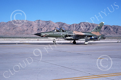 F-105USAF 00179  A taxing Republic F-105G Thunderchief Wild Weasel USAF 63296 WW code Nellis AFB 4-1980 military airplane picture by Ronald McNeil
