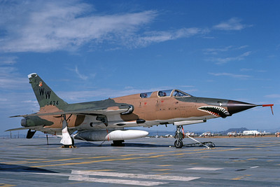 F-105USAF 00175  A static Republic F-105G Thunderchief Wild Weasel USAF 62434 WW code D-M AFB 7-1980 military airplane picture by Ben Knowles