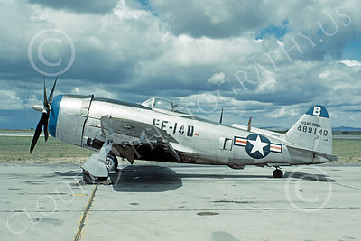 P-47 00001 USAF Republic P-47 Thunderbolt military airplane picture, Hamilton Field, by W T Larkins