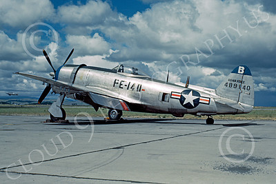 P-47 00003 A static USAF Republic P-47 Thunderbolt military airplane picture, Hamilton Field, by W T Larkins