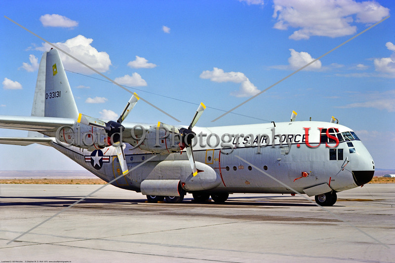 C-130A-USAF 001 A static early model Lockheed C-130A Hercules USAF 0-33131 cargo troop carrier AFFTC Edwards AFB 9-1975 military airplane picture by Stephen W  D  Wolf     BBB_8599     DoneWT