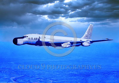 EC-135N-USAF 002 A flying, highly modified, USAF Boeing EC-135N Stratolifter, 10327, 3-1967, official USAF photograph produced by Cloud 9 Photography, Stephen W  D  Wolf coll      DDD_4067     Dt