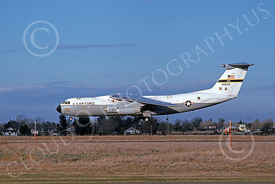 C-141AUSAF 00008 A landing Lockheed C-141A Starlifter USAF 40640 McClelland AFB 2-1975 military airplane picture by Michael Grove, Sr