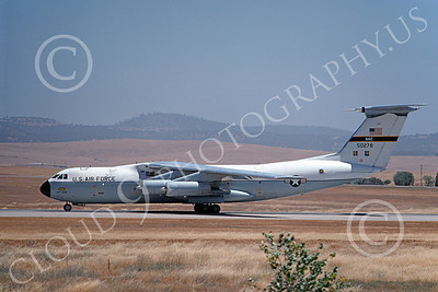 C-141AUSAF 00007 A taxing Lockheed C-141A StarLifter USAF 50278 Beale AFB 7-1976 military airplane picture by Michael Grove, Sr