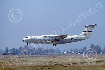 C-141AUSAF 00002 A landing USAF Lockheed C-141A StarLifter 67947 438tth MAW McClelland AFB 7-1974 military airplane picture by Peter B Lewis