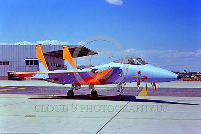 F-15USAF-Test 001 A static blue-orange McDonnell Douglas F-15 Eagle USAF air superiority jet fighter 10284 AFFTC- Edwards AFB 9-1975 military airplane picture by Stephen W  D  Wolf     BBB_8541     DoneWT