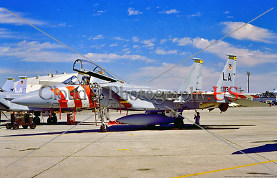 F-15-USAF-LA-55th TFTS 002 A static McDonnell Douglas F-15 Eagle with big red and white stripes, USAF air supremacy jet fighter, 73103, 55th TFTS, LA tail code, 9-1977 Luke AFB, military airplane picture by Stephen W  D  Wolf        DDD_3924     Dt