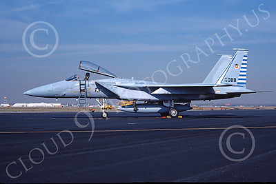 F-15USAF 00049 A static McDonnell Douglas F-15 Eagle jet fighter USAF 76088 48th FIS TAZLANGIAN DEVILS 12-1981 military airplane picture by Will Coolidge