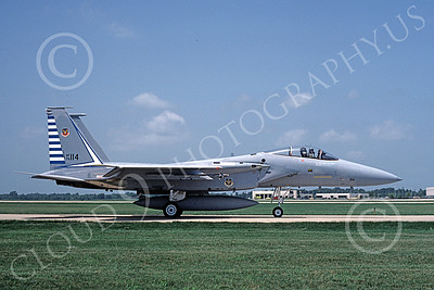 F-15USAF 00037 A taxing McDonnell Douglas F-15 Eagle jet fighter USAF 74114 48th FIS TAZLANGLIAN DEVILS Tyndell AFB 7-1987 military airplane picture by Clark Hansen