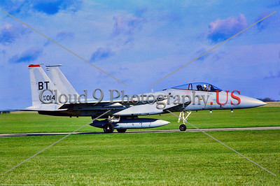 F-15-USAF-BT-36th TFW 001 A taxing McDonnell Douglas F-15 Eagle, USAF air supremacy jet fighter, 76014, 36th TFW, BT tail code, 3-1978 Alconbury, military airplane picture by Stephen W  D  Wolf        DDD_4500     Dt