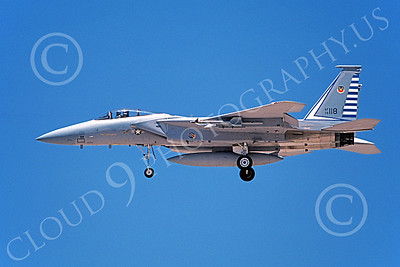 F-15USAF 00208 A landing McDonnell Douglas F-15 Eagle jet fighter USAF 76118 48th FIS TAZLANGLIAN DEVILS 6-1987 military airplane pictures by Michael Grove, Sr