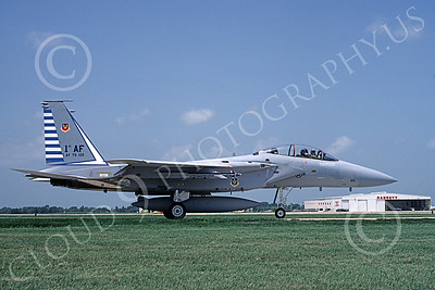F-15USAF 00051 A taxing McDonnell Douglas F-15B Eagle jet fighter USAF 76126 48th FIS TAZLANGLIAN DEVILS 7-1987 military airplane picture by Will Coolidge