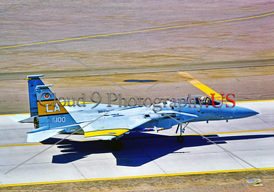 F-15-USAF-LA-55th TTTS A taxing McDonnell Douglas F-15 Eagle, USAF air supremacy jet fighter, 73100 55th TFTS, with yellow stripes, 9-1977 Luke AFB, military airplane picture by Stephen W  D  Wolf        DDD_3912     Dt
