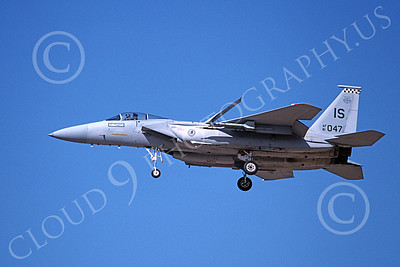 F-15USAF 00190 A landing McDonnell Douglas F-15 Eagle jet fighter USAF 81047 57th FIS BLACK KNIGHTS IS code 2-1993, airplane picture, by Michael Grove, Sr