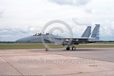 F-15USAF 00047 A taxing McDonnell Douglas F-15B Eagle jet fighter USAF 76126 48th FIS TAZLANGLIAN DEVILS Tyndall AFB 12-1986 military airplane picture by Will Coolidge  DONEwt copy