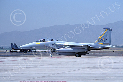 F-15USAF 00035 A taxing McDonnell Douglas F-15B Eagle jet fighter USAF 76125 5th FIS SPITTEN KITTENS Luke AFB 8-1985 military airplane picture by Jim Wooley