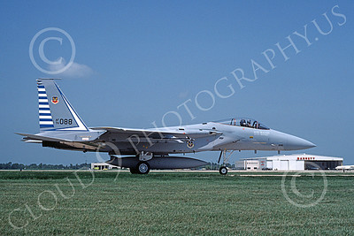 F-15USAF 00039 A taxing McDonnell Douglas F-15 Eagle jet fighter USAF 76088 48th FIS TAZLANGLIAN DEVILS 7-1987 military airplane picture by Will Coolidge