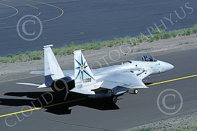 F-15USAF 00061 A taxing McDonnell Douglas F-15 Eagle jet fighter USAF 76098 318th FIS GREEN DRAGONS Kingsley Field 6-1986 military airplane picture by Carl E Porter