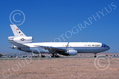 KC-10 00001 A taxing Douglas KC-10 Extender USAF 91947 March AFB 4-1988 military airplane picture by Michale Grove, Sr