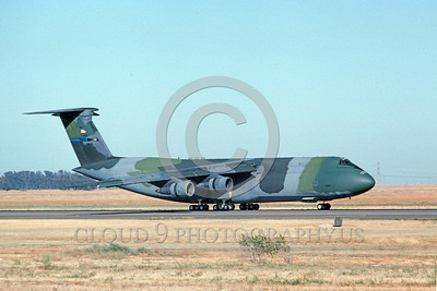 C-5USAF 0029 A taxing lizard color scheme Lockheed C-5 Galaxy USAF 60016 Travis AFB 7-1994 military airplane picture by Carl E Porter