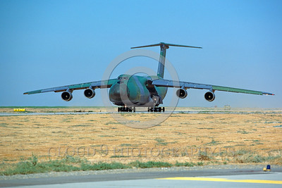 C-5USAF 0023 A taxing Lockheed C-5 Galaxy USAF heavy lift cargo jet lizard scheme NAS Lemoore 9-1986 military airplane picture by Peter J Mancus