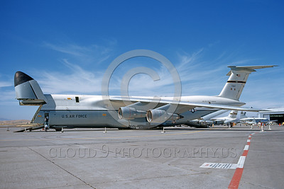 C-5USAF 0009 A static Lockheed C-5 Galaxy USAF 700167 Travis AFB 6-1973 with raised nose military airplane picture by Michael Grove, Sr