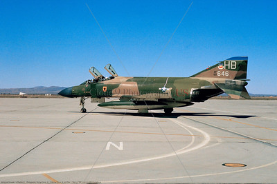 F-4D-USAF-7TFS 001 A taxing cam McDonnell Douglas F-4D Phantom II USAF jet fighter 65646 7TFS 49TFW HB tail code George AFB 7-1969 military airplane picture by Michael Grove, Sr     Dwt