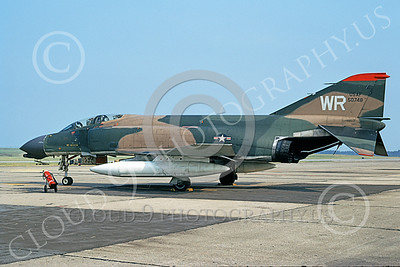 F-4USAF 00163 A static McDonnell Douglas F-4D Phantom II USAF 50748 WR code Lakenheath 6-1970 military airplane picture by Clive Hughes