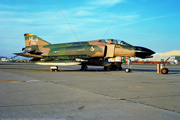 F-4D-USAF-4TFS 001 A static cam McDonnell Douglas F-4D Phantom II USAF jet fighter 50796 HL tail code 4TFS 388TFW Hill AFB 9-1976 military airplane picture by Michael Grove, Sr     Dwt