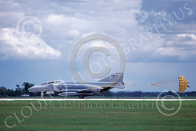 F-4USAF 00319 A McDonnell Douglas F-4D Phantom II USAF 64929 3246th Test Wing AD code rolls out with chute deployed 7-1986 military airplane picture by Michael Grove, Sr