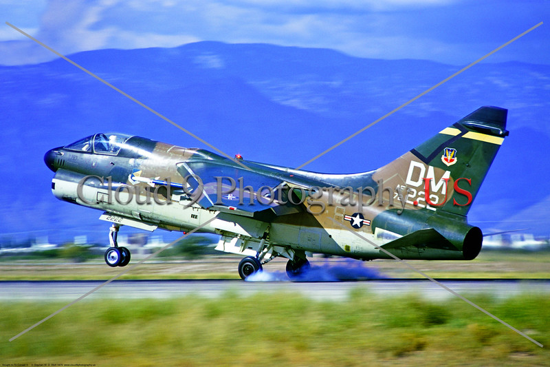 A-7D-USAF-355th TFW 001 A Vought A-7D Corsair II USAF light jet attack bomber 72222 DM tail code landing at D-M AFB 8-1975 military airplane picture by Stephen W  D  Wolf     BBB_7933     DoneWT