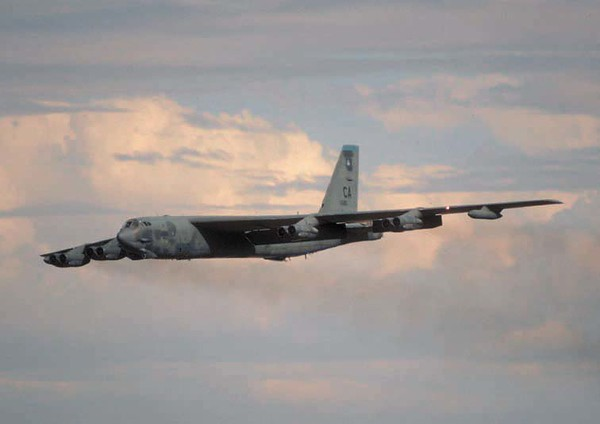 All B-52s are equipped with an electro-optical viewing system that uses platinum silicide forward-looking infrared and high resolution low-light-level television sensors to augment the targeting, battle assessment, flight safety and terrain-avoidance system, thus further improving its combat ability and low-level flight capability. (U.S. Air Force photo)