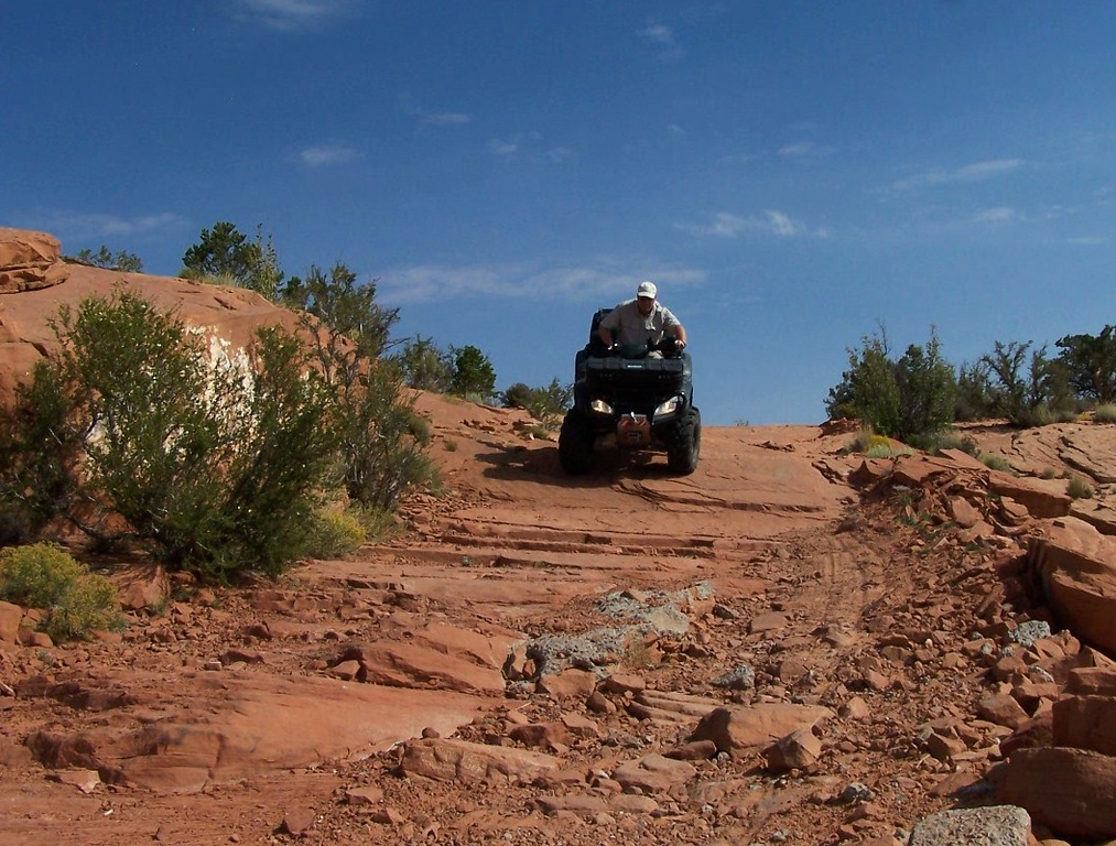 Pictured here is actually a good stretch of the four mile trail up to the summit of Hunts Mesa. ATVs are allowed on the Navajo Indian Reservation as long as you stay on designated roads and trails.
