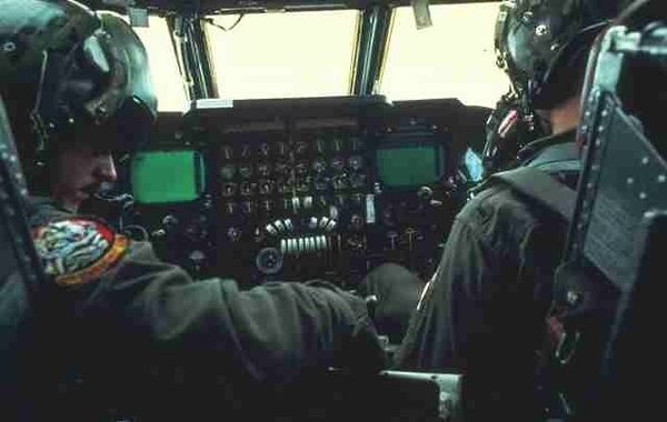The pilots compartment as seen from the observer seat. Both pilot and co-pilot eject upward in an emergency situation. The observer seat has no ejection capability.