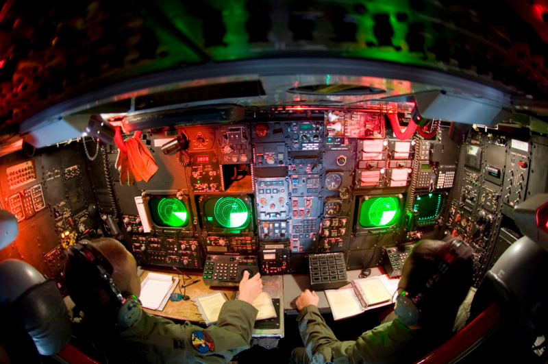 The Navigator and Radar Navigator occupy the lower deck of a B-52G. In an emergency these crew members eject downward through two escape hatches directly below their seats. (U.S. Air Force photo)