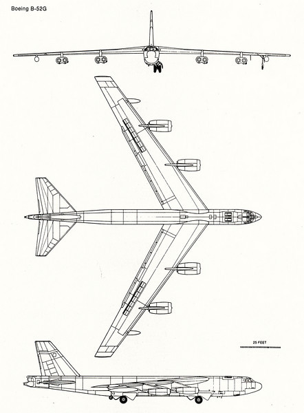 Diagram of the Boeing B-52G Stratofortress.