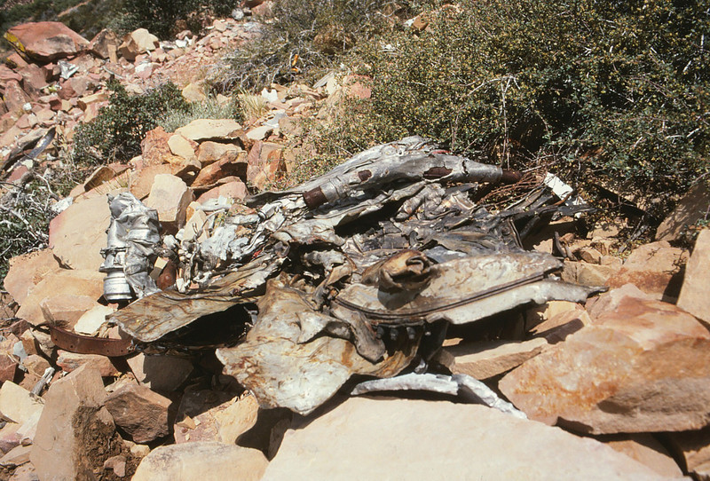 Engine casing material and components were scattered over a large area.