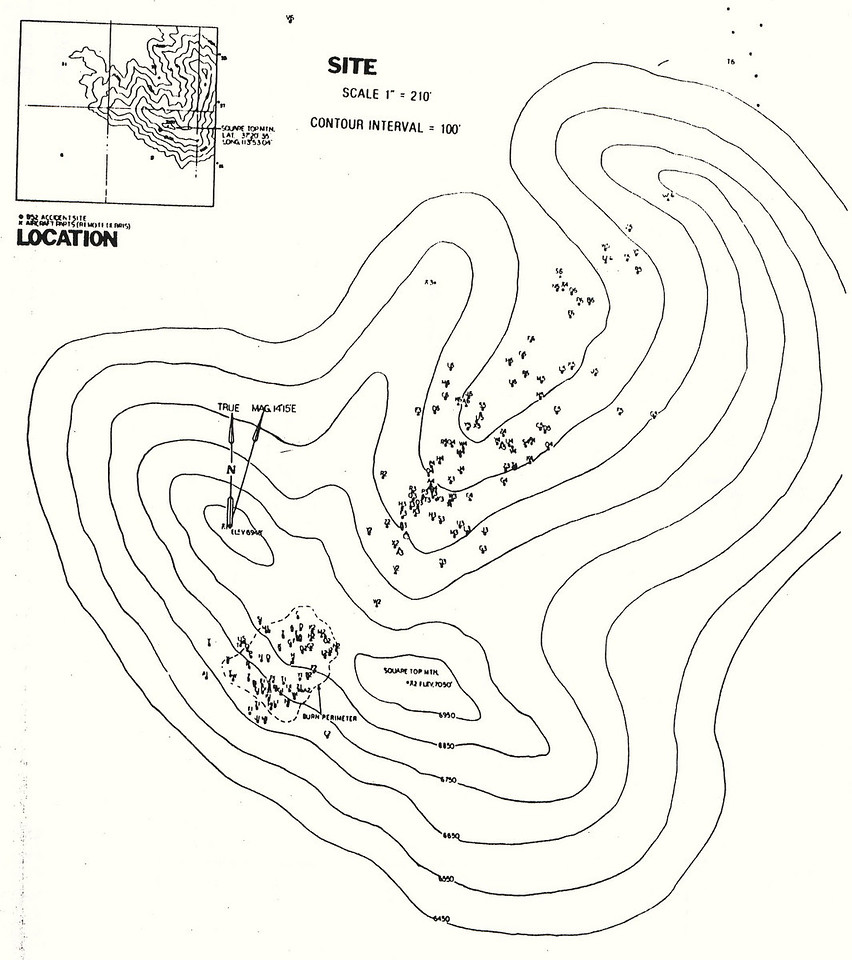 Planview of Square Top Mountain showing distribution of wreckage.